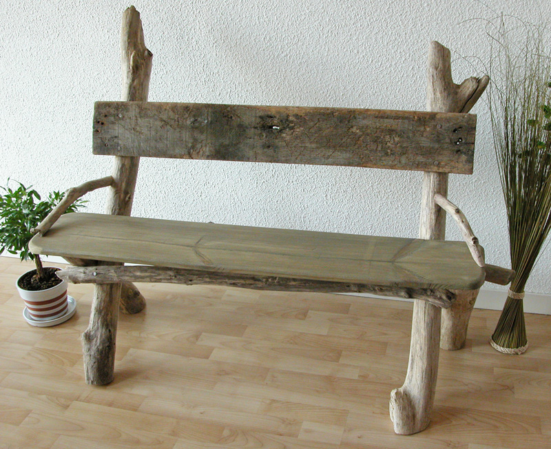 Caract re naturel banc en bois flott - Banc de table en bois ...