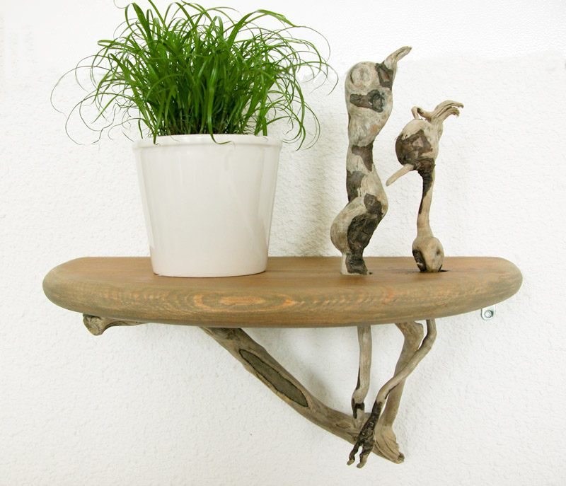 Caract re naturel console oiseaux en bois flott for Console en bois flotte